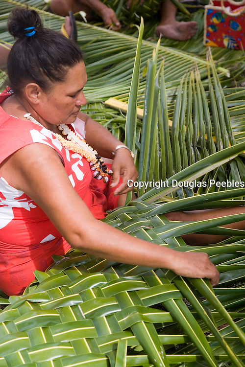 Coconut palm frond weaving, Fakarava, Tuamotu Islands, French Polynesia, (Editorial use only)<br />