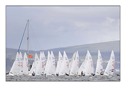470 Class European Championships Largs - Day 2.Wet and Windy Racing in grey conditions on the Clyde...Men Startline.