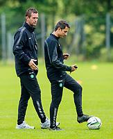 30/06/14<br /> CELTIC TRAINING<br /> AUSTRIA<br /> Celtic manager Ronny Deila (left) and assistant John Collins during training in Austria.