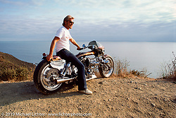 Arlen Ness on his custom Blower Bike overlooking the Pacific Ocean. Sausolito Hills, CA. 1987. Photograph ©1987 Michael Lichter