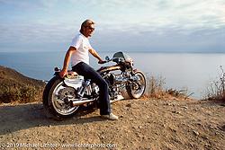 Arlen Ness on his custom Blower Bike overlooking the Pacific Ocean. Sausolito Hills, CA. 1987. Photograph ©1987 Michael Lichter