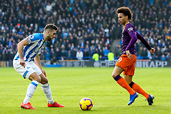 Leroy Sane of Manchester City takes on Tommy Smith of Huddersfield Town - Mandatory by-line: Robbie Stephenson/JMP - 20/01/2019 - FOOTBALL - The John Smith's Stadium - Huddersfield, England - Huddersfield Town v Manchester City - Premier League