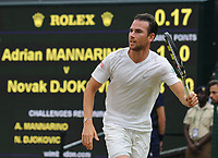 Tennis - 2017 Wimbledon Championships - Week Two, Tuesday [Day Eight]<br /> <br /> Men's Singles, 4th Round<br /> <br /> Adrian Mannarino (FRA) vs. Novak Djokovic (SRB)<br /> <br /> Adrian Mannarino on Centre Court <br /> <br /> COLORSPORT/ANDREW COWIE
