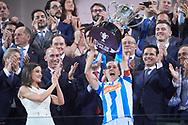 Queen Letizia of Spain delivery the trophy to Sandra Ramajo (Real Sociedad) after winning Spanish Queen's Cup (Copa de la Reina) final match Real Sociedad vs At. de Madrid at Los Nuevos Carmenes Stadium on May 12, 2019 in Granada, Spain