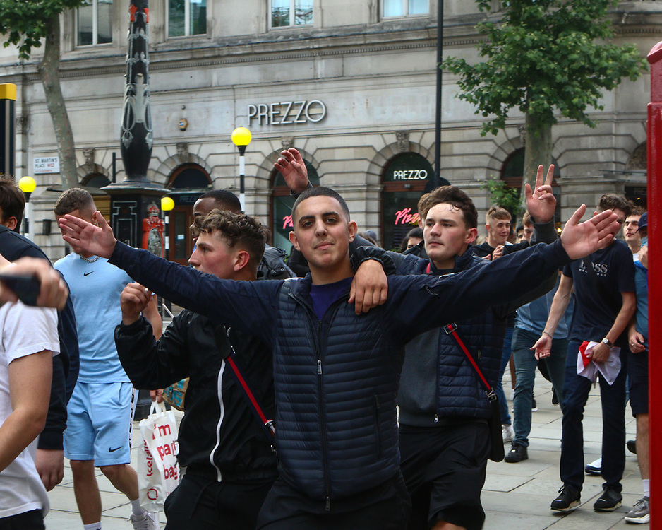 England supporters march through Central London prior to the start of the match. 03.07.2021. Marcin Riehs/Pathos