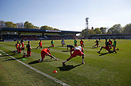 Charlton players warming up during the EFL Sky Bet League 1 match between Rochdale and Charlton Athletic at Spotland, Rochdale, England on 5 May 2018. Picture by Paul Thompson.