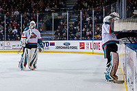 KELOWNA, CANADA - MARCH 13: Roman Basran #30 of the Kelowna Rockets skates to the bench for a goaltending change against the Spokane Chiefs on March 13, 2019 at Prospera Place in Kelowna, British Columbia, Canada.  (Photo by Marissa Baecker/Shoot the Breeze)