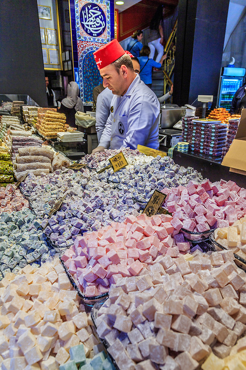 Different lokums offered at Hafiz Mustafa's confectionary on Istiklal in Istanbul, Turkey. Lokum or rahat lokum is a confection based on a gel of starch and sugar. Traditionally they are flavored with rosewater, mastic, Bergamot orange, or lemon.