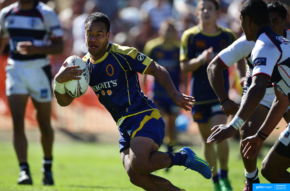 Buxton Popoali'i scores a try for Otago in the Final against Auckland during the Pub Charity Rugby Sevens 2012 New Zealand tournament at the Queenstown Recreation Ground, Queenstown, Otago, New Zealand. 8th January 2012. Photo Tim Clayton