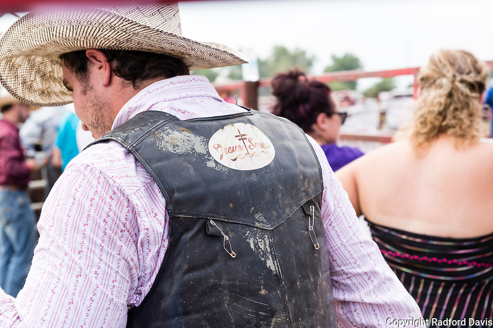 Jesus saves -- an essential motto for a rodeo cowboy.