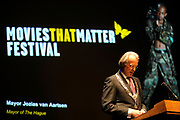 Opening Movies that Matter Festival.The Movies that Matter Festival is an initiative of the Dutch section of Amnesty International.On Thursday April 2nd 2009 her Royal Highness Princess Mabel, director of The Elders, will open our international festival on Peace and Justice in the International City of Peace and Justice.<br /> <br /> On the Photo: Jozias van Aartsen, Mayor of the Hague
