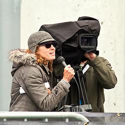 adidas Grand Prix Diamond League professional track & field meet: media interview reporter and cameraman