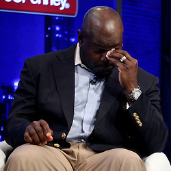 06 February, 2010: Emmitt Smith on stage after he was announced as one of the newest Enhrinees into the Hall of Fame during a press conference for the Pro Football Hall of Fame Class of 2010 Enshrinees held at the Greater Ft. Lauderdale/Broward County Convention Center in Fort Lauderdale, Florida.
