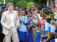 Prince Harry visits Bustamente Children's Hospital and meets the children there, in Kingston, Jamaica, on the 6th March 2012<br /> PICTURE BY JAMES WHATLING