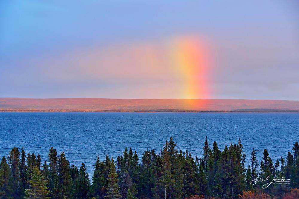 Rainbow over Ennadai Lake, Arctic Haven Lodge, Ennadai Lake, Nunavut, Canada