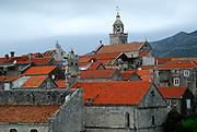 Traditional orange-tiled rooftops of Korcula old town, Croatia