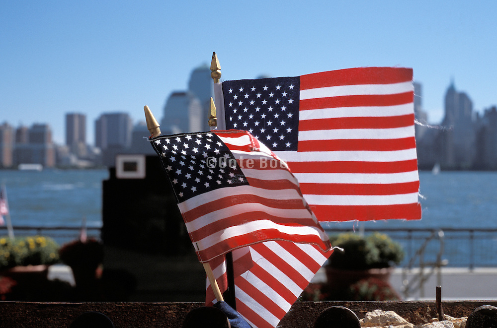 Small flags placed to express pride in the USA after 9/11
