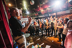 Tommy Blom addresses the seminar. IKMS 'In The Club' seminar with KMG Global Team Instructor and Expert Level 5, Tommy Blom, at the Buff Club in Glasgow's City Centre. Bringing Krav Maga training out with the confines of the gym into a real nightclub/bar.<br /> © Michael Schofield.