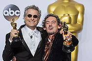 """88th Academy Awards press room.<br /> Best sound editing Mark Mangini and David White for the film """"Mad Max:Fury Road."""""""