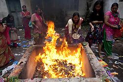 KATHMANDU, Sept. 6, 2016 (Xinhua) -- Nepalese Hindu women offer prayers during Rishi Panchami festival at Risheshwor Mahadev in Kathmandu, capital of Nepal, Sept. 6, 2016. Rishi Panchami festival marks the end of the three-day Teej festival when women worship Sapta Rishi (Seven Saints) and pray for health for their husband while unmarried women wish for handsome husband and happy conjugal lives. (Xinhua/Pratap Thapa)(zcc) (Credit Image: © Pratap Thapa/Xinhua via ZUMA Wire)