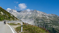 Going up the Grimsel pass in Switzerland by bike