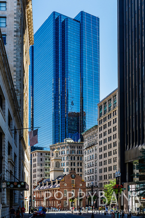 The Old State House is tucked in among other architecture that span's Boston's history
