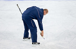Nik Zupancic repairing ice during practice session of Slovenian National Ice Hockey team first time in Arena Stozice before 2012 IIHF World Championship DIV I Group A in Slovenia, on April 13, 2012, in Arena Stozice, Ljubljana, Slovenia. (Photo by Vid Ponikvar / Sportida.com)