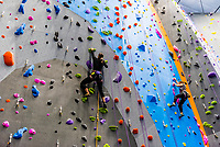 The new Earth Treks indoor rock climbing gym in Englewood, Colorado (suburb of Denver) USA; at 53,000 square feet is the largest rock climbing gym in the United States.