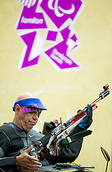 Franc Pinter of Slovenia competes in the Men's R5-10m Air Rifle Prone Cat. 1 shooting Qualifications during Day 4 of the Summer Paralympic Games London 2012 on September 1, 2012, in Royal Artillery Barracks, London, Great Britain. (Photo by Vid Ponikvar / Sportida.com)