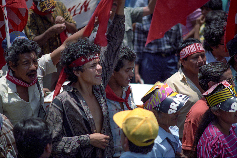 Supporters of the FMLN celebrate the signing of the peace agreement in San Salvador, January 1992