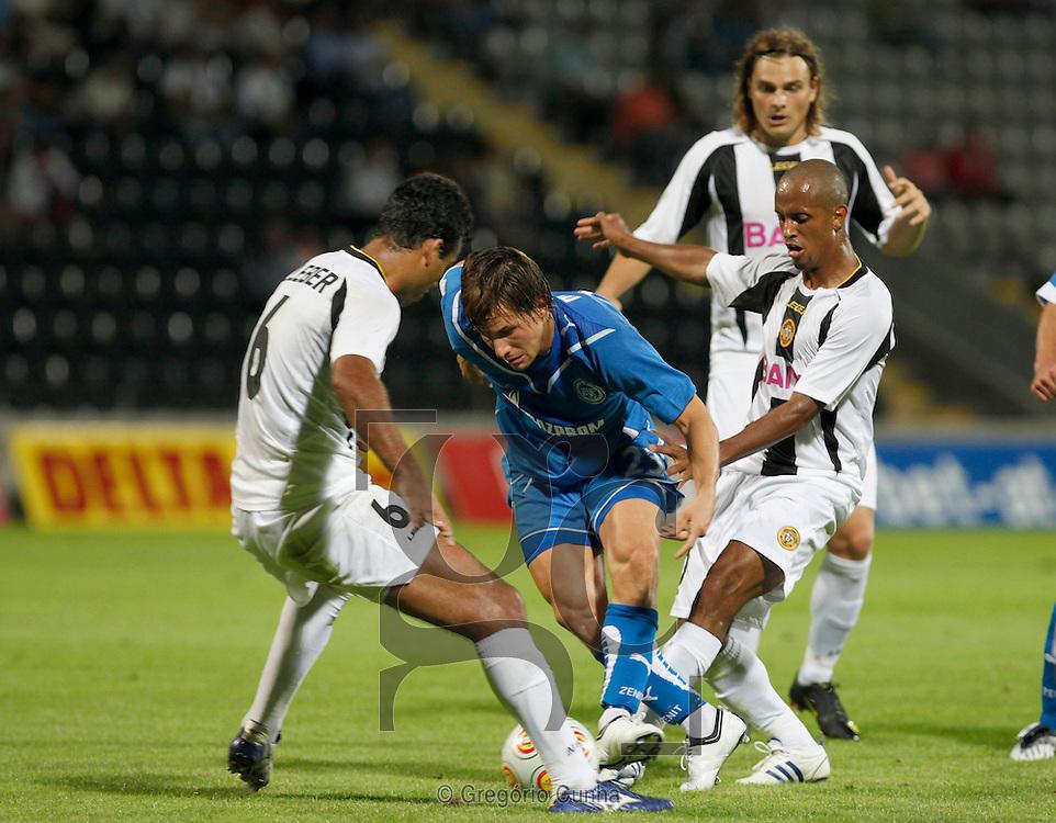 Europa League, Madeira stadium.Nacional vs FC Zenit.Cleber, Huszti and Salino.Foto Gregorio Cunha