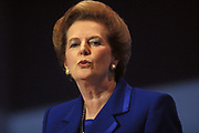 Prime Minster Margaret Thatcher is seen giving her last speech as PM at the October 1990 Conservative Party Conference, on 11th October 1990, in Blackpool, England. Weeks before being removed by her own colleagues, her fighting spirit and stern expression gives her the reputation of the Iron Lady.