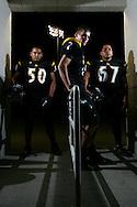Photo by Alex Jones..Rio Hondo Bobcats: #50 Adrian Jaime, linebacker, #2 Shane Eizember, receiver, #67 Josue Vasquez, guard.