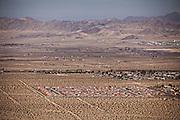 Aerial view of suburban development in the Mojave desert town of Twentynine Palms, California.