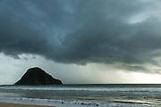 Island and dramatic clouds to sea, Red Island Beach, Red Island, Banyuwangi Regency, East Java, Indonesia, Southeast Asia