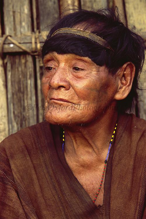 Machiguenga Indian <br />Timpia Community, Lower Urubamba River<br />Amazon Rain Forest, PERU.  South America