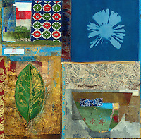 """Colorful and textural rough hewn asian themed mixed media collage with the good fortune: """"May You Grow Rich"""".<br /> :::"""