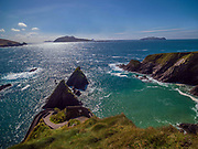 Dun Chaoin Pier and slipway  on the Dingle Pennisula in County Kerry Ireland leading the The Blasket Islands.<br /> Photo Don MacMonagle - macmonagle.com