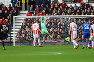 Stoke City Goalkeeper Jack Butland tips a Riyad Mahrez of Leicester City's (26) shot over the bar. Premier league match, Stoke City v Leicester City at the Bet365 Stadium in Stoke on Trent, Staffs on Saturday 4th November 2017.<br /> pic by Chris Stading, Andrew Orchard sports photography.