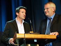 Friidrett / Athletics<br /> ExxonMobil Bislett Games 2005<br /> 29.07.2005<br /> Foto: Morten Olsen, Digitalsport<br /> <br /> Pre-competition dinner<br /> <br /> Famous Bislett Stars of the past. Sebastian Coe and Meeting Director Svein Arne Hansen