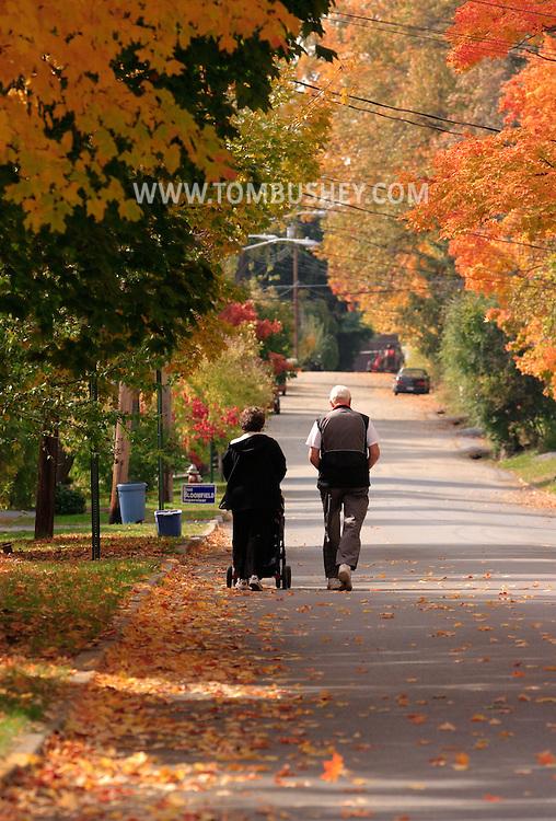 GOSHEN, N.Y. - A man and a woman with a stroller take a walk under autumn leaves in Goshen, N.Y., on Nov. 1, 2005.