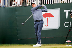 June 23, 2018 - Cromwell, CT, U.S. - CROMWELL, CT - JUNE 23: Russell Henley of the United States hits from the 1st tee during the Third Round of the Travelers Championship on June 23, 2018, at TPC River Highlands in Cromwell, Connecticut. (Photo by Fred Kfoury III/Icon Sportswire) (Credit Image: © Fred Kfoury Iii/Icon SMI via ZUMA Press)