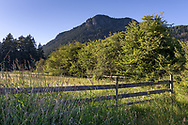 An old fence at the former farmland in Burgoyne Bay Provincial Park.  Mount Maxwell and Baynes Peak are in the background.  Photographed in Burgoyne Bay Provincial Park on Salt Spring Island, British Columbia, Canada.