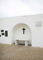 A bench memorial at the Plaza 25 de Mayo in Ushuaia, Argentina.