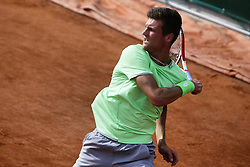 May 23, 2019 - Paris, France - Manuel Guinard of France during a match against Belgian tennis player Kimmer Coppejans in the  third round qualifications of Roland Garros, in Paris, France, on May 22, 2019. (Credit Image: © Ibrahim Ezzat/NurPhoto via ZUMA Press)