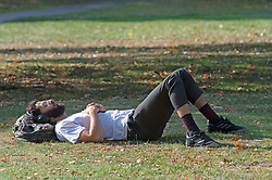 ©Licensed to London News Pictures 22/09/2020  <br /> Greenwich, UK. Not a care in the world as this man enjoys  the September sun. Sunny autumn weather today in Greenwich park, Greenwich, London. Photo credit:Grant Falvey/LNP