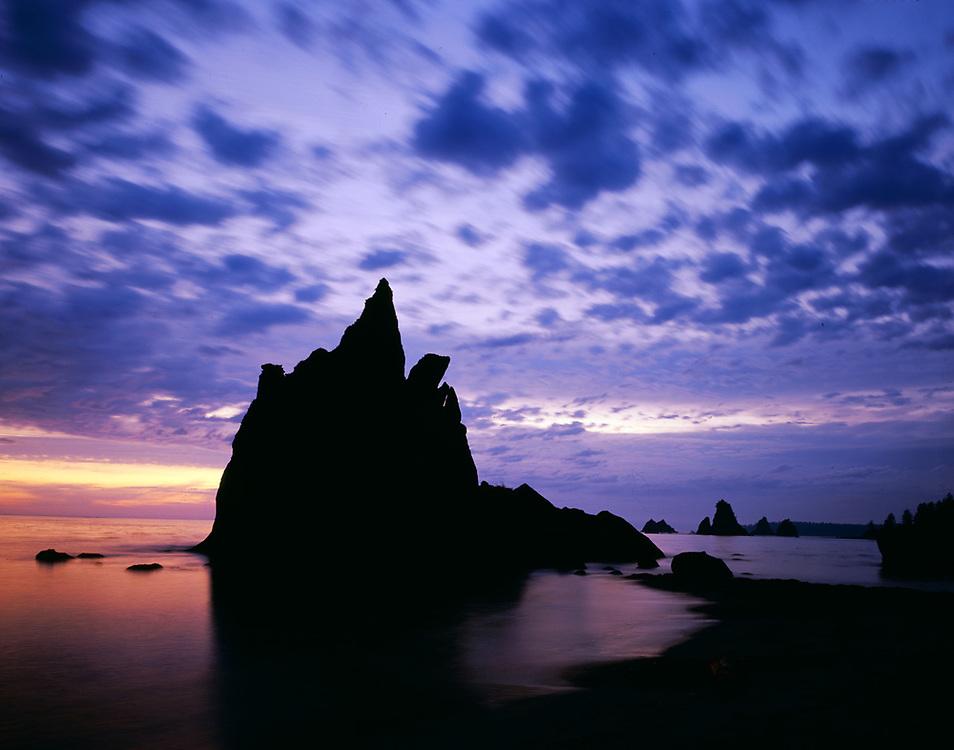 Seastack at twilight, October, Toleak Point, Pacific Coast, Olympic National Park, Washington, USA