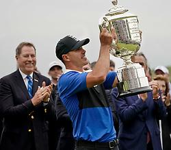 May 19, 2019 - Bethpage, New York, United States - Brooks Koepka holds the Wanamaker trophy after winning the 101st PGA Championship at Bethpage Black. (Credit Image: © Debby Wong/ZUMA Wire)