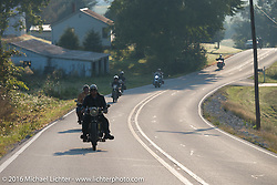 Andy Kaindl of Germany on his 4-cylinder 1915 Henderson class-2 motorcycle leads a pack of bikes early one morning during the Motorcycle Cannonball Race of the Century. Stage-5 from Bloomington, IN to Cape Girardeau, MO. USA. Wednesday September 14, 2016. Photography ©2016 Michael Lichter.