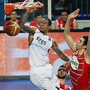 Efes Pilsen's Lawrence ROBERTS (R) during their Turkish Basketball Legague Play-Off qualifying second match Efes Pilsen between Pinar Karsiyaka at the Sinan Erdem Arena in Istanbul Turkey on Friday 13 May 2011. Photo by TURKPIX